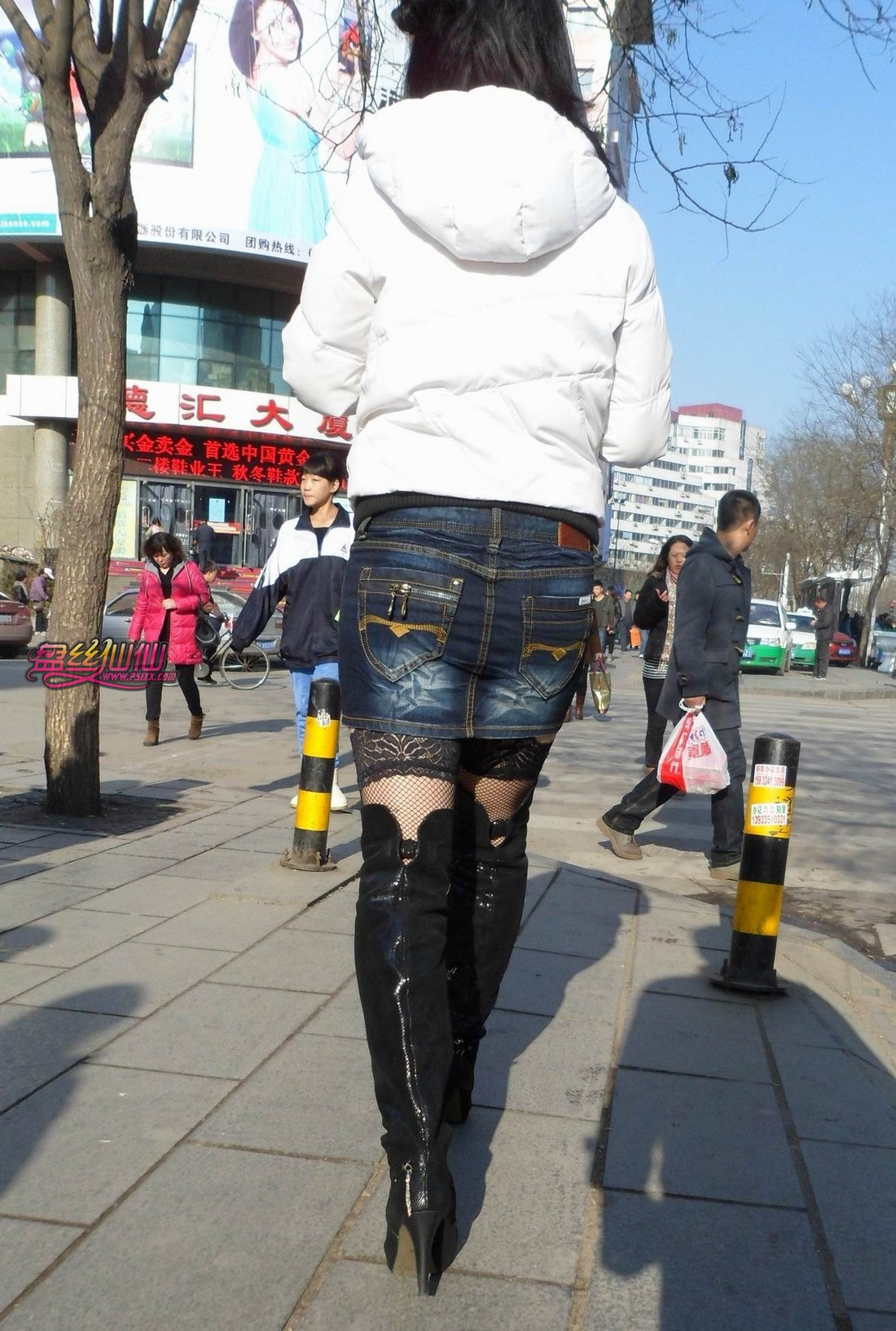 过膝长靴,吊带网袜 丝腿 丝腿 高清图片